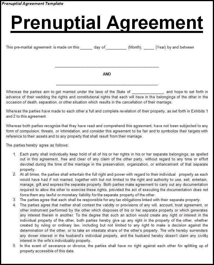 Prenuptial Agreement Form. | Mr. Talented